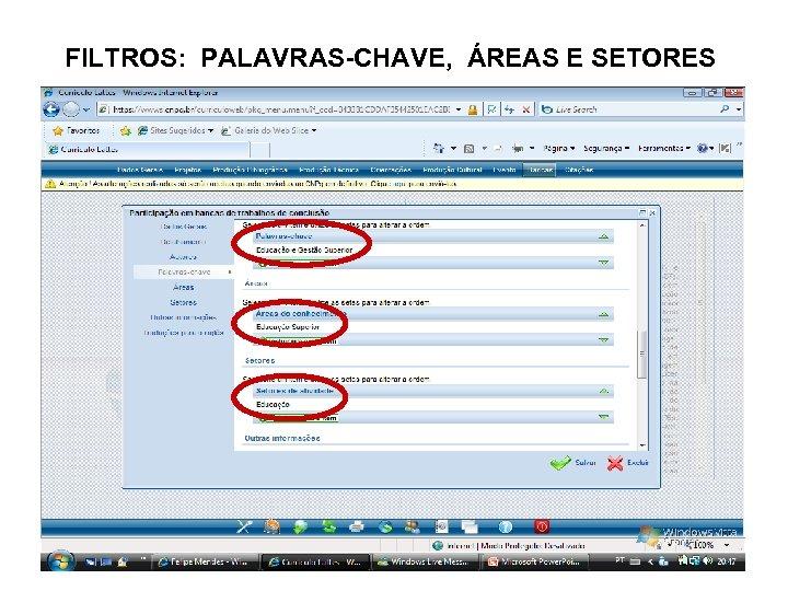 FILTROS: PALAVRAS-CHAVE, ÁREAS E SETORES