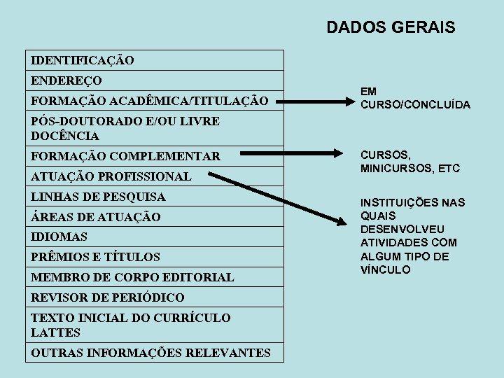 DADOS GERAIS IDENTIFICAÇÃO ENDEREÇO FORMAÇÃO ACADÊMICA/TITULAÇÃO EM CURSO/CONCLUÍDA PÓS-DOUTORADO E/OU LIVRE DOCÊNCIA FORMAÇÃO COMPLEMENTAR