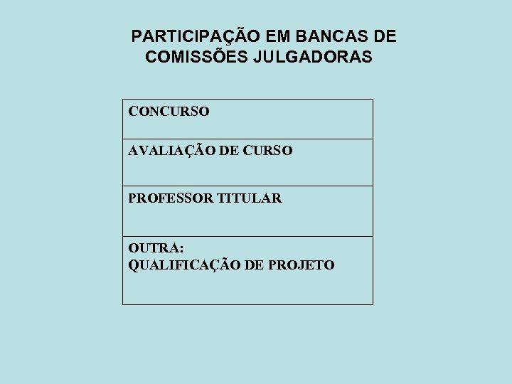 PARTICIPAÇÃO EM BANCAS DE COMISSÕES JULGADORAS CONCURSO AVALIAÇÃO DE CURSO PROFESSOR TITULAR OUTRA: QUALIFICAÇÃO