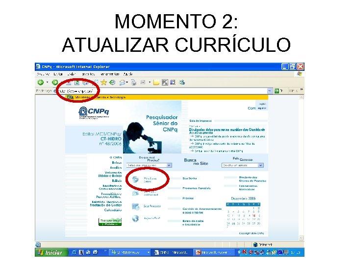 MOMENTO 2: ATUALIZAR CURRÍCULO