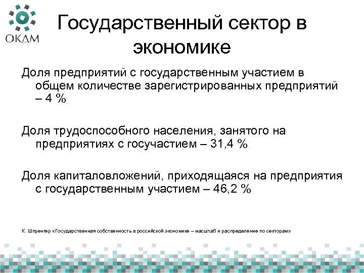 Государственный сектор в экономике Доля предприятий с государственным участием в общем количестве зарегистрированных предприятий