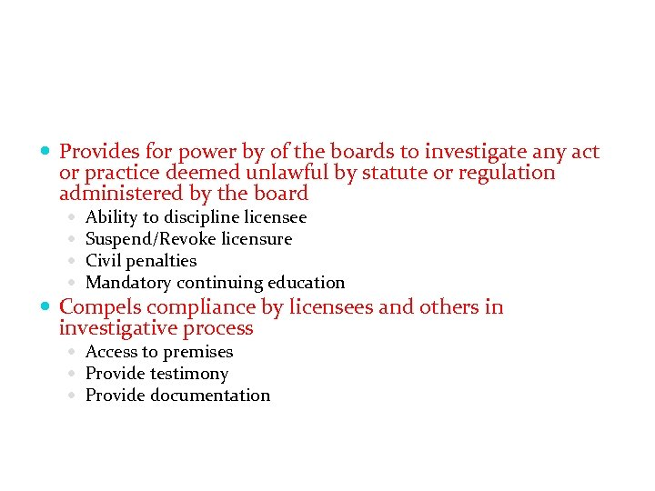 Provides for power by of the boards to investigate any act or practice