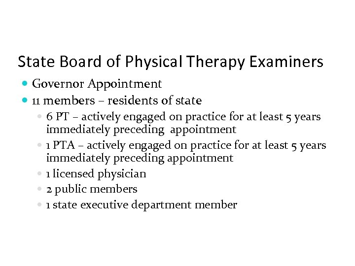 State Board of Physical Therapy Examiners Governor Appointment 11 members – residents of state
