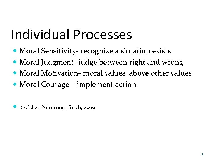 Individual Processes Moral Sensitivity- recognize a situation exists Moral Judgment- judge between right and