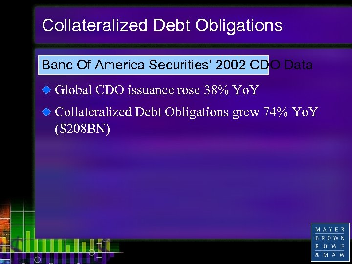 Collateralized Debt Obligations Banc Of America Securities' 2002 CDO Data Global CDO issuance rose