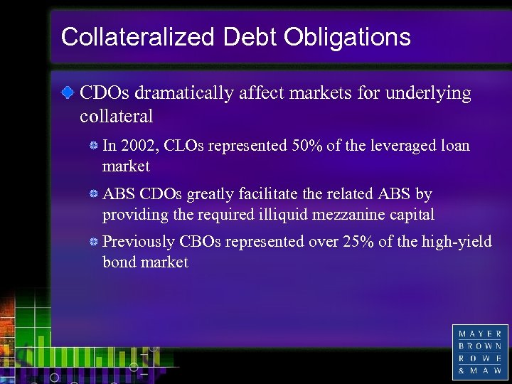 Collateralized Debt Obligations CDOs dramatically affect markets for underlying collateral In 2002, CLOs represented