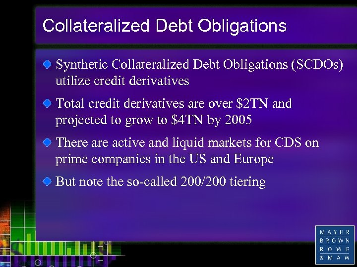Collateralized Debt Obligations Synthetic Collateralized Debt Obligations (SCDOs) utilize credit derivatives Total credit derivatives
