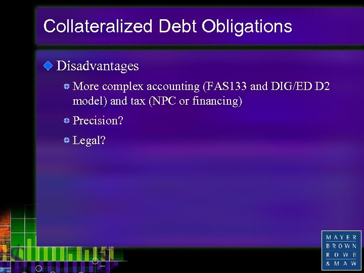 Collateralized Debt Obligations Disadvantages More complex accounting (FAS 133 and DIG/ED D 2 model)