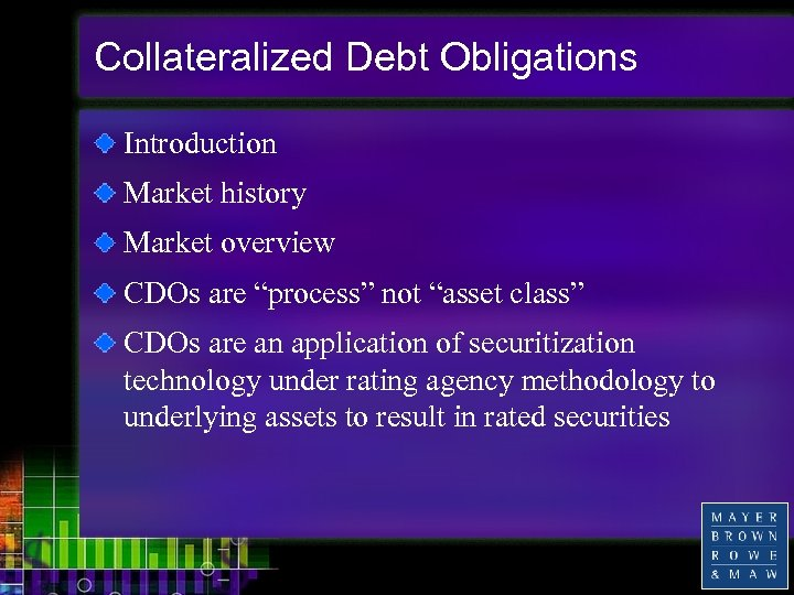 """Collateralized Debt Obligations Introduction Market history Market overview CDOs are """"process"""" not """"asset class"""""""