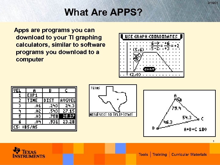 2/14/01 What Are APPS? Apps are programs you can download to your TI graphing