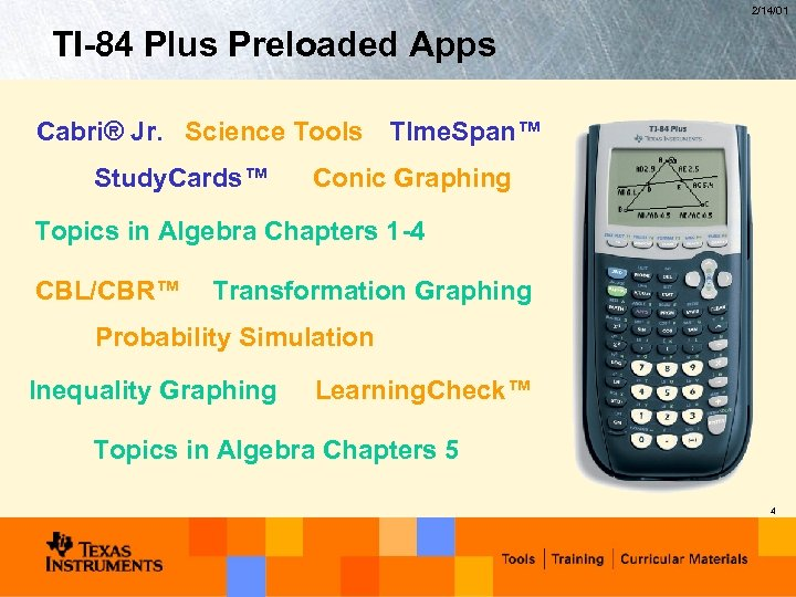 2/14/01 TI-84 Plus Preloaded Apps Cabri® Jr. Science Tools TIme. Span™ Study. Cards™ Conic