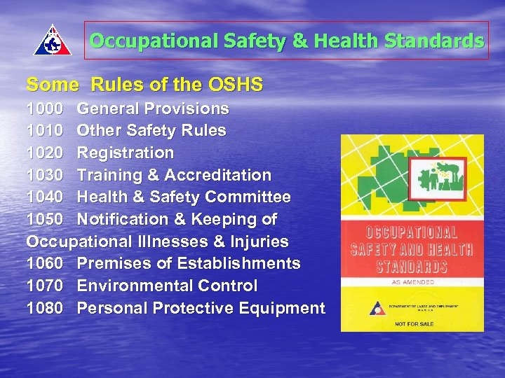 Occupational Safety & Health Standards Some Rules of the OSHS 1000 General Provisions 1010