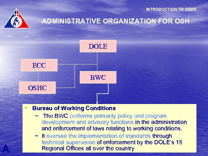 INTRODUCTION TO OSHS ADMINISTRATIVE ORGANIZATION FOR OSH DOLE ECC BWC OSHC • Bureau of