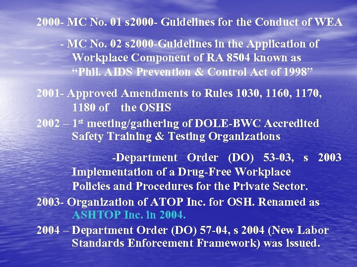 2000 - MC No. 01 s 2000 - Guidelines for the Conduct of WEA