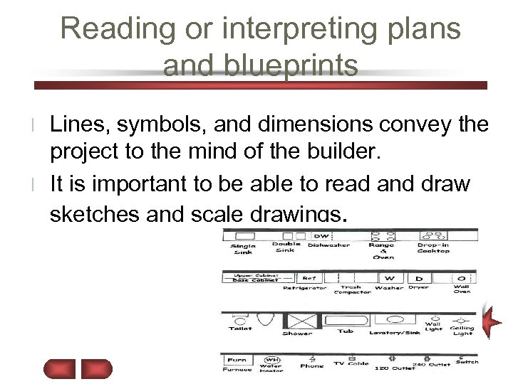 Reading or interpreting plans and blueprints Lines, symbols, and dimensions convey the project to