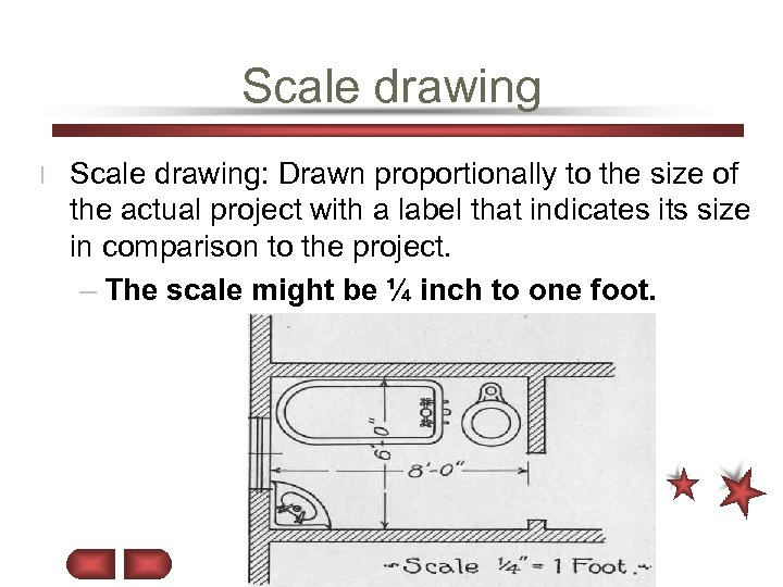Scale drawing l Scale drawing: Drawn proportionally to the size of the actual project