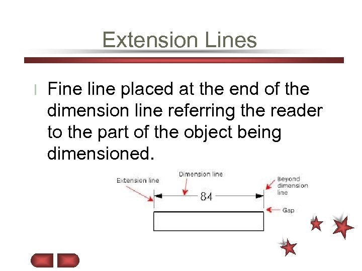 Extension Lines l Fine line placed at the end of the dimension line referring