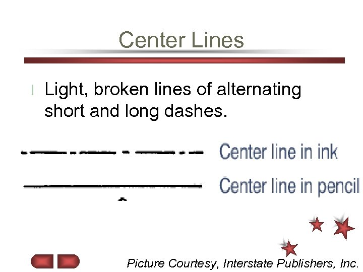 Center Lines l Light, broken lines of alternating short and long dashes. Picture Courtesy,