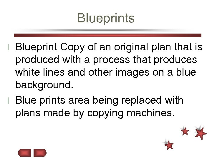 Blueprints Blueprint Copy of an original plan that is produced with a process that