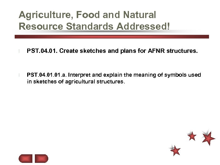 Agriculture, Food and Natural Resource Standards Addressed! l PST. 04. 01. Create sketches and