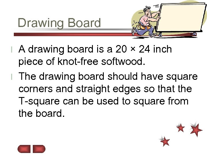 Drawing Board A drawing board is a 20 × 24 inch piece of knot-free
