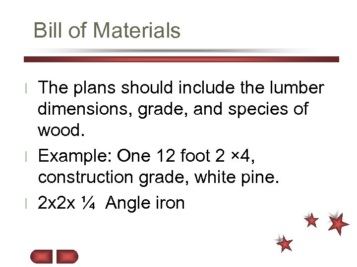 Bill of Materials The plans should include the lumber dimensions, grade, and species of