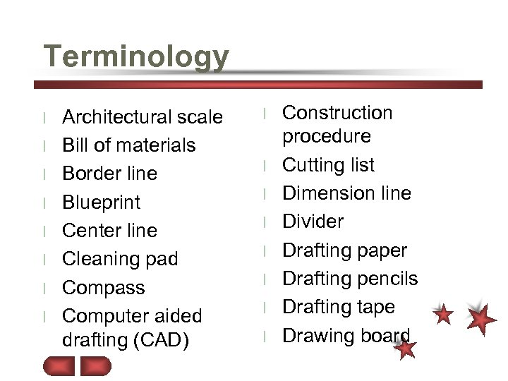 Terminology l l l l Architectural scale Bill of materials Border line Blueprint Center