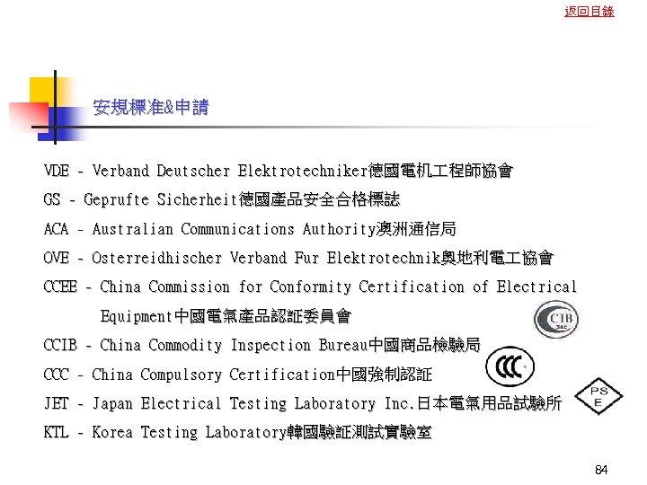 返回目錄 安規標准&申請 VDE - Verband Deutscher Elektrotechniker德國電机 程師協會 GS - Geprufte Sicherheit德國產品安全合格標誌 ACA -