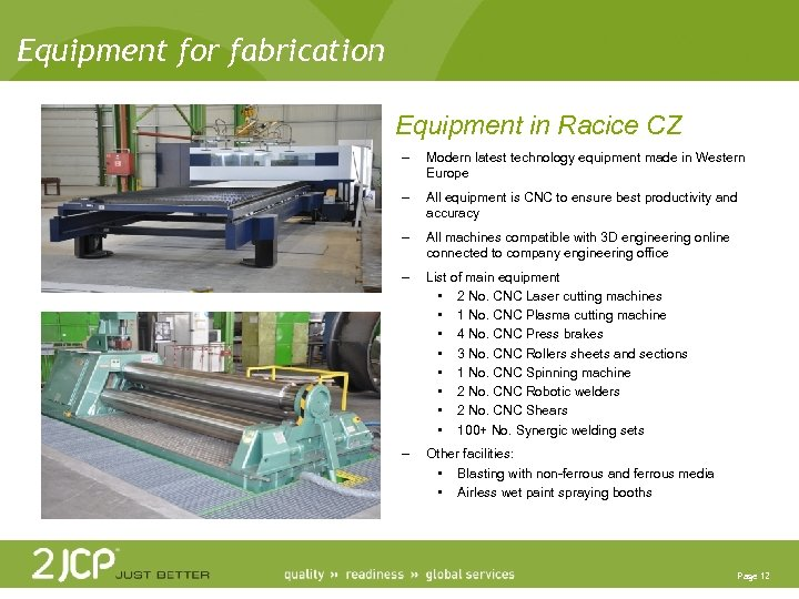 Equipment for fabrication Equipment in Racice CZ – Modern latest technology equipment made in