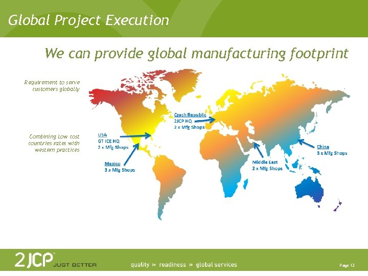 Global Project Execution We can provide global manufacturing footprint Requirement to serve customers globally