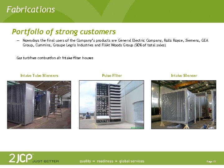 Fabrications Portfolio of strong customers — Nowadays the final users of the Company's products
