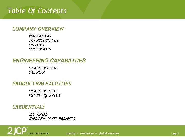 Table Of Contents COMPANY OVERVIEW WHO ARE WE? OUR POSSIBILITIES EMPLOYEES CERTIFICATES ENGINEERING CAPABILITIES