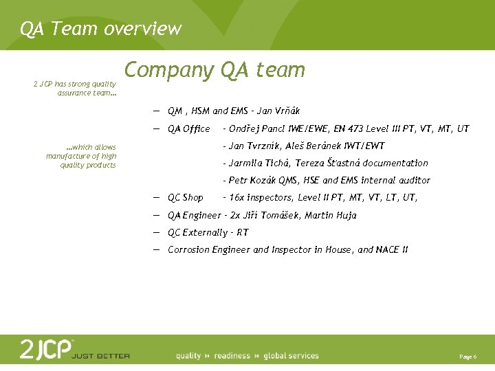 QA Team overview 2 JCP has strong quality assurance team… Company QA team —