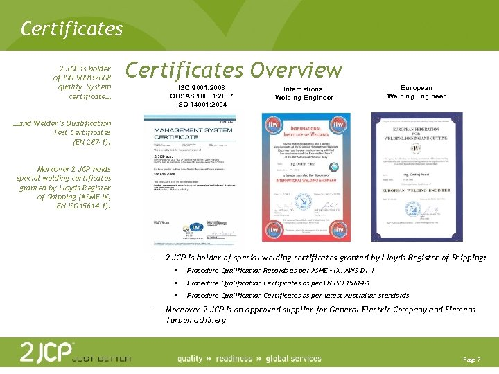 Certificates 2 JCP is holder of ISO 9001: 2008 quality System certificate… Certificates Overview