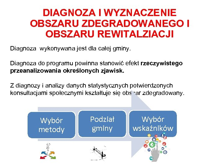 DIAGNOZA I WYZNACZENIE OBSZARU ZDEGRADOWANEGO I OBSZARU REWITALZIACJI Diagnoza wykonywana jest dla całej gminy.