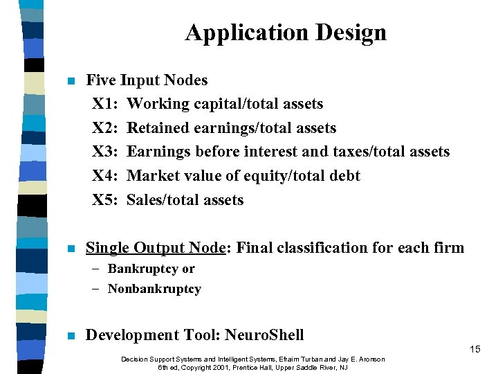 Application Design n Five Input Nodes X 1: Working capital/total assets X 2: Retained