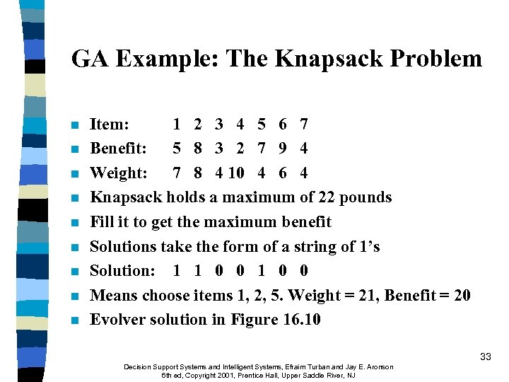 GA Example: The Knapsack Problem n n n n n Item: 1 2 3