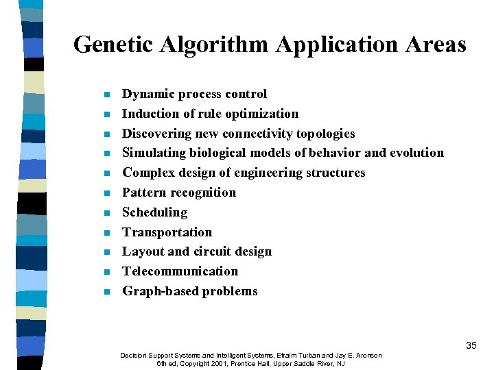 Genetic Algorithm Application Areas n n n Dynamic process control Induction of rule optimization