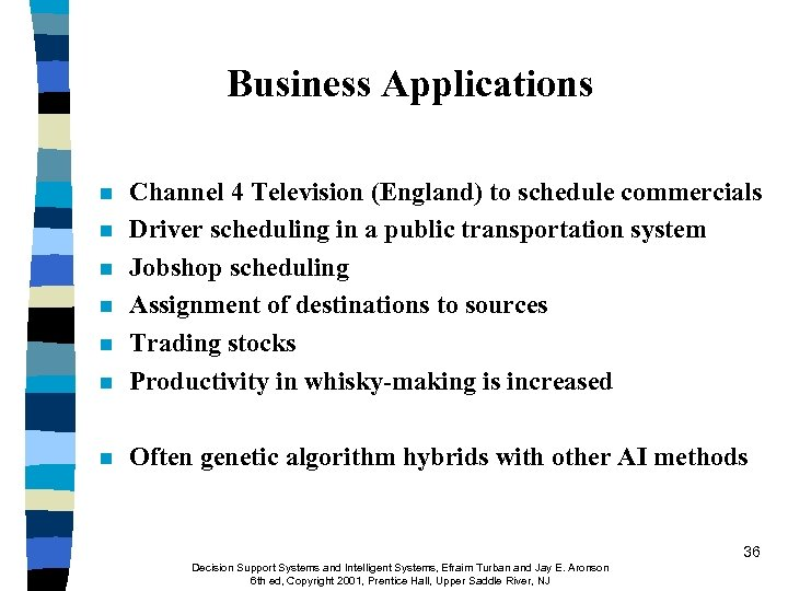 Business Applications n Channel 4 Television (England) to schedule commercials Driver scheduling in a