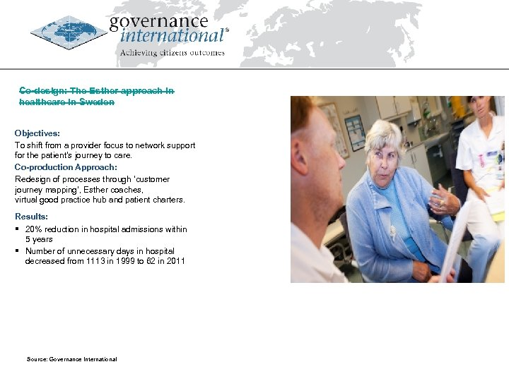 Co-design: The Esther approach in healthcare in Sweden Objectives: To shift from a provider