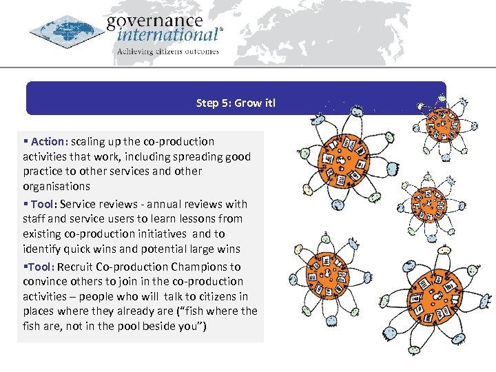Step 5: Grow it! § Action: scaling up the co-production activities that work, including