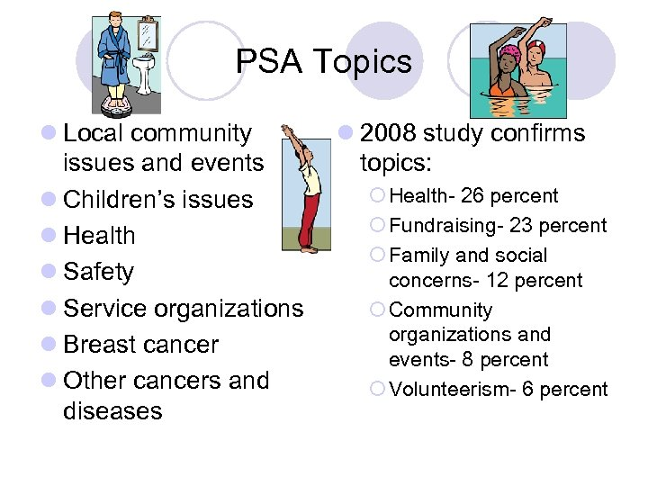 PSA Topics l Local community issues and events l Children's issues l Health l