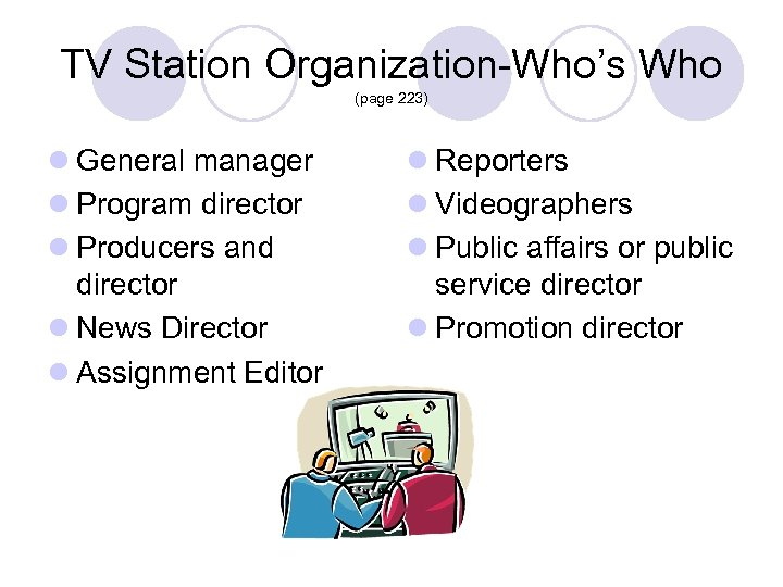 TV Station Organization-Who's Who (page 223) l General manager l Program director l Producers