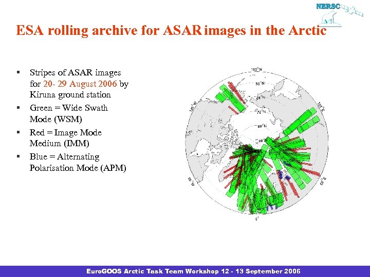 ESA rolling archive for ASAR images in the Arctic § § Stripes of ASAR