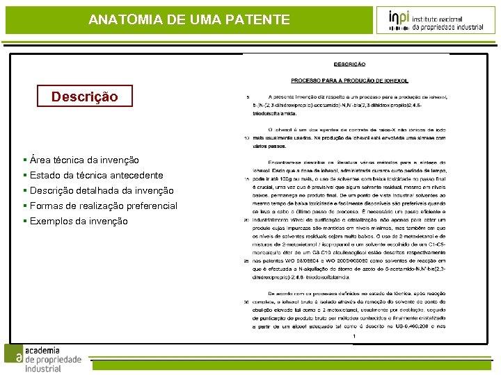 ANATOMIA DE UMA PATENTE Descrição Área técnica da invenção Estado da técnica antecedente Descrição
