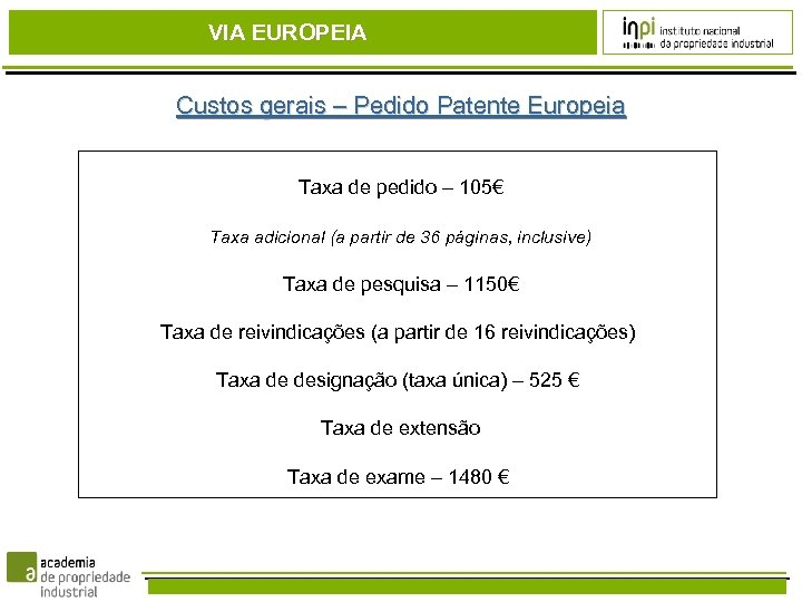 VIA EUROPEIA Custos gerais – Pedido Patente Europeia Taxa de pedido – 105€ Taxa