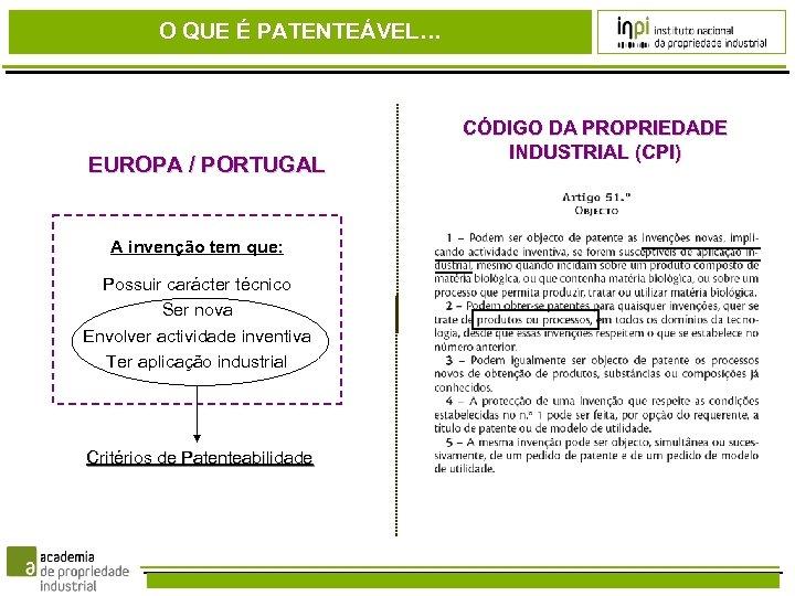 O QUE É PATENTEÁVEL… EUROPA / PORTUGAL A invenção tem que: Possuir carácter técnico