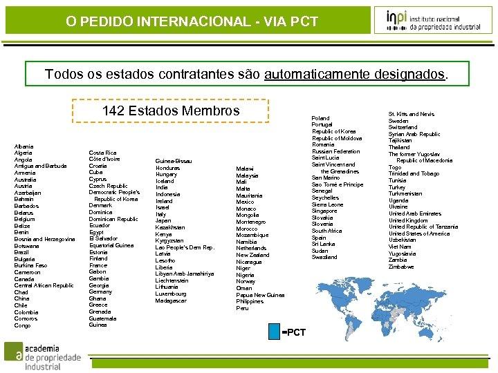 O PEDIDO INTERNACIONAL - VIA PCT Todos os estados contratantes são automaticamente designados. 142