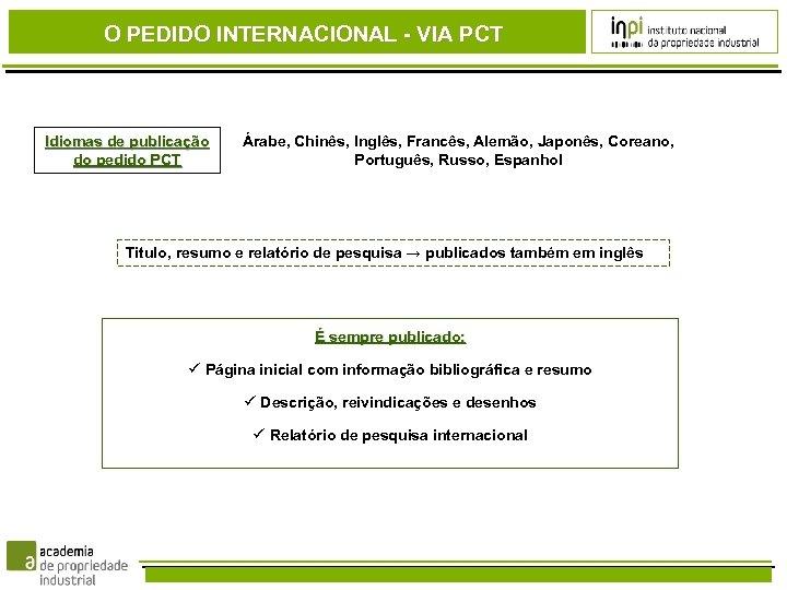 O PEDIDO INTERNACIONAL - VIA PCT Idiomas de publicação do pedido PCT Árabe, Chinês,