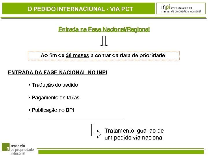 O PEDIDO INTERNACIONAL - VIA PCT Entrada na Fase Nacional/Regional Ao fim de 30